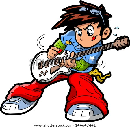Anime Manga Rock Star Guitar Player - stock vector
