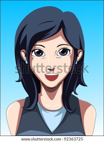 Anime Style Avatar - stock vector