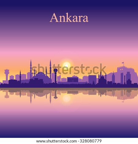 Ankara city skyline silhouette background, vector illustration - stock vector