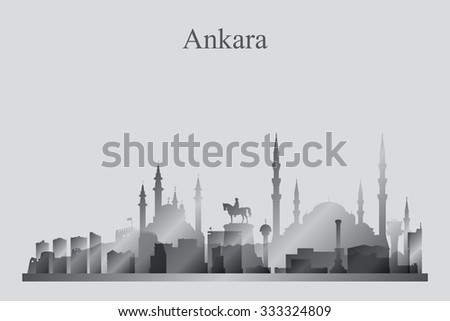 Ankara city skyline silhouette in grayscale, vector illustration - stock vector