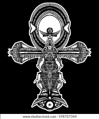 Ankh Tattoo Ancient Egyptian Cross Tshirt Stock Vector 598707344