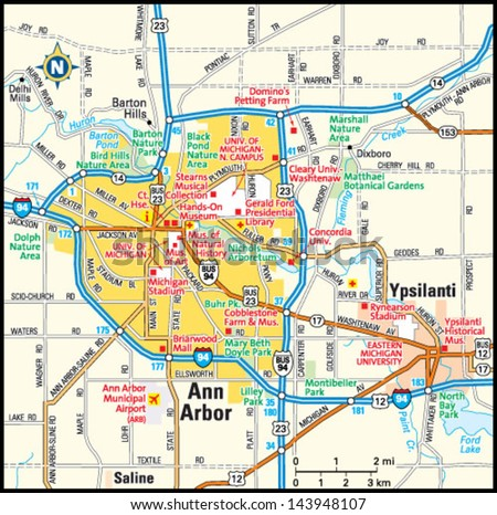 Ann Arbor Michigan Area Map Stock Vector 143948107 Shutterstock