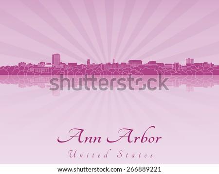 Ann Arbor skyline in purple radiant orchid in editable vector file - stock vector