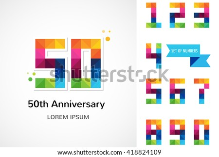 anniversary - abstract colorful icons and elements set - stock vector
