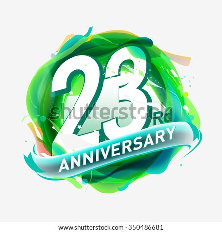 anniversary 23 - abstract green background with icons and elements - stock vector