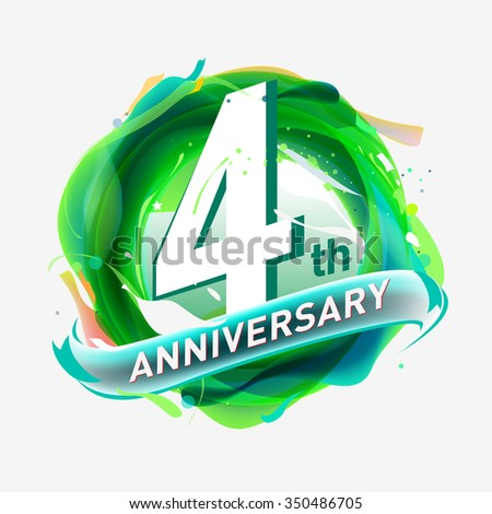 anniversary 4 - abstract green background with icons and elements - stock vector