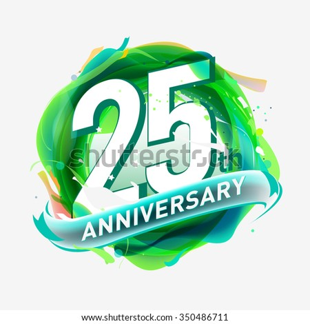 anniversary 25 - abstract green background with icons and elements - stock vector