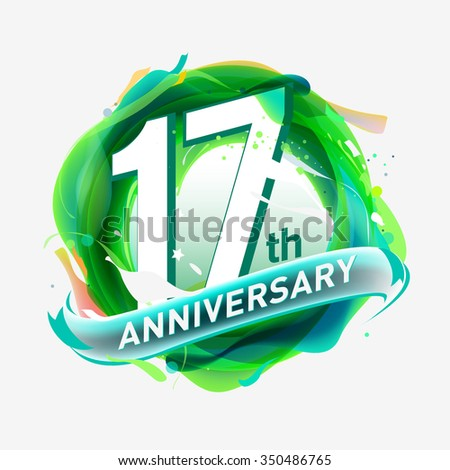 anniversary 17 - abstract green background with icons and elements - stock vector
