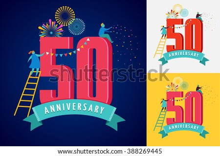anniversary - background with people celebrating icons and numbers - stock vector