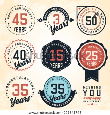Anniversary Badges and Labels in Vintage Style - stock vector