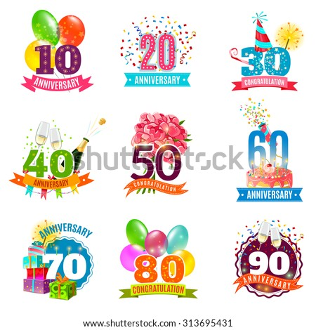 Anniversary birthdays festive emblems icons set for personalized gifts cards  and presents colorful abstract isolated vector illustration - stock vector