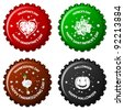 anniversary bottle caps against white background, abstract vector art illustration; image contains transparency - stock vector