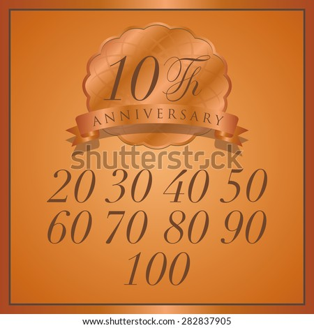 anniversary bronze label with ribbon - stock vector