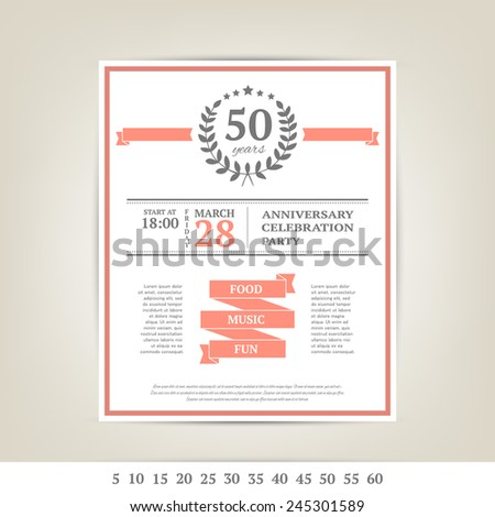 Anniversary card template - stock vector