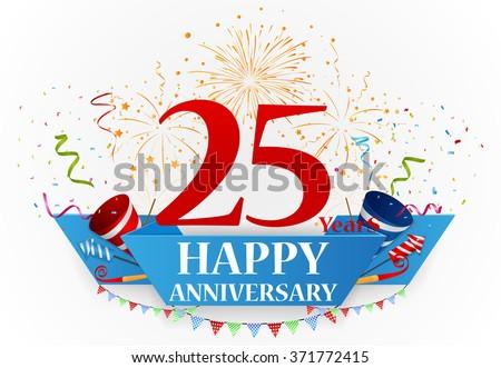 anniversary celebration background with confetti - stock vector