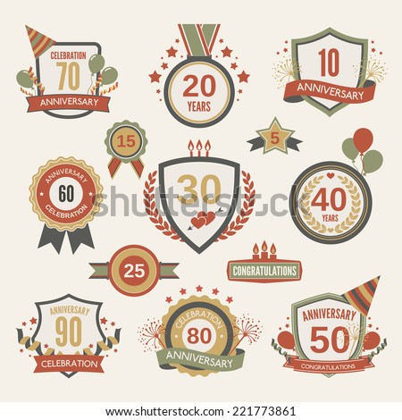 Anniversary celebration retro label set with decoration isolated vector illustration - stock vector