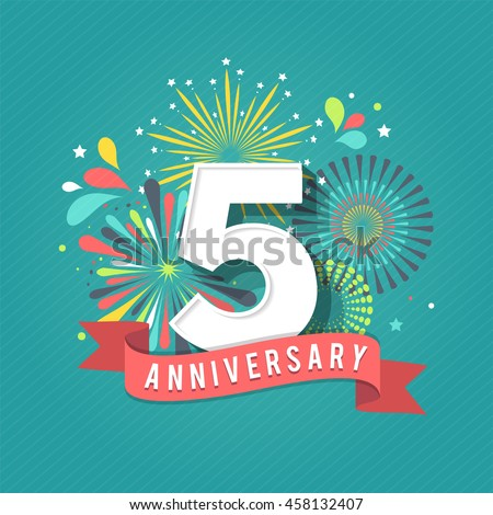 Anniversary Fireworks Celebration Background Stock Vector