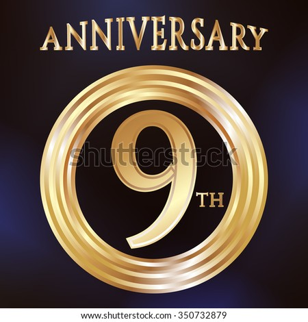 Anniversary gold ring logo number 9. Anniversary card. Blue background. Vector illustration.