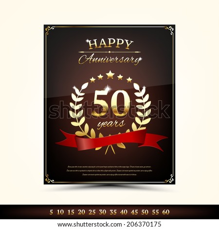 Anniversary golden brochure template - stock vector