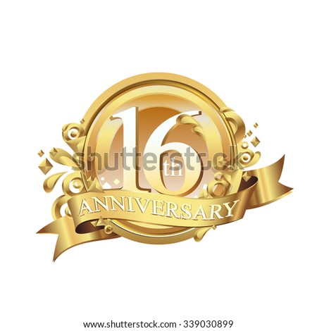 anniversary golden decorative background ring and ribbon 16 - stock vector