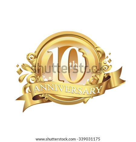 anniversary golden decorative background ring and ribbon 10 - stock vector