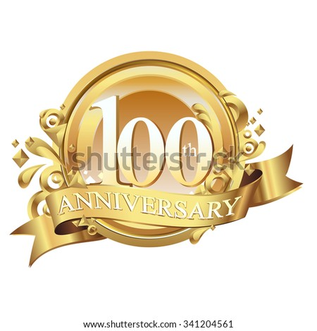 anniversary golden decorative background ring and ribbon 100 - stock vector