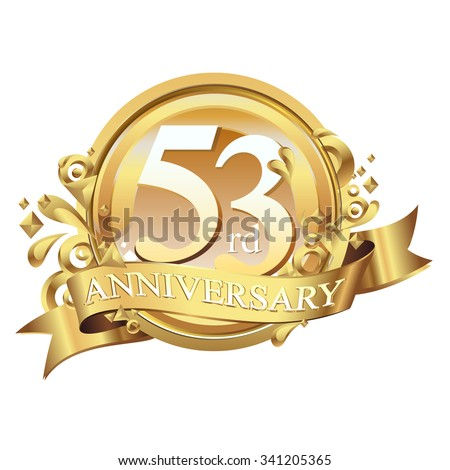 anniversary golden decorative background ring and ribbon 53 - stock vector