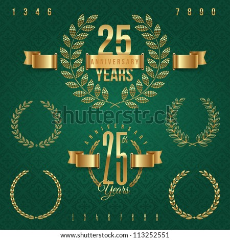 Anniversary golden emblems and decorative elements - vector illustration (green background - seamless) - stock vector