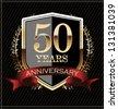 Anniversary golden label - stock photo
