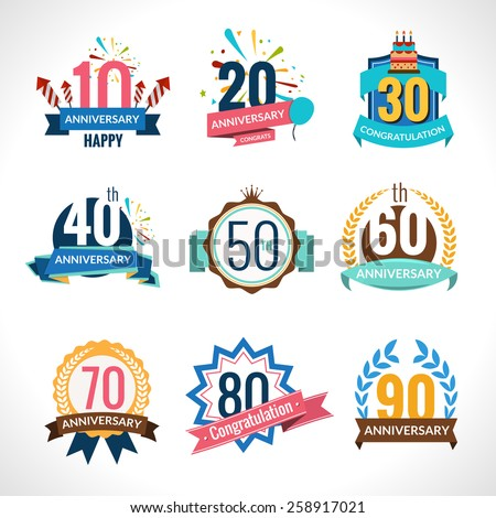 Anniversary happy holiday festive celebration emblems set with ribbons isolated vector illustration - stock vector