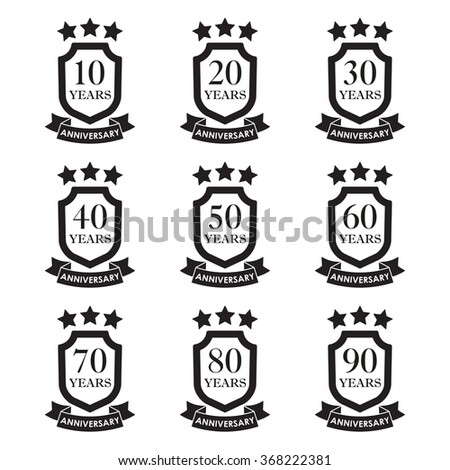 Anniversary icon set. Anniversary emblems with shield and ribbon. 10,20,30,40,50,60,70,80,90 years. Celebration, invitation and congratulation design element. Vector illustration. - stock vector