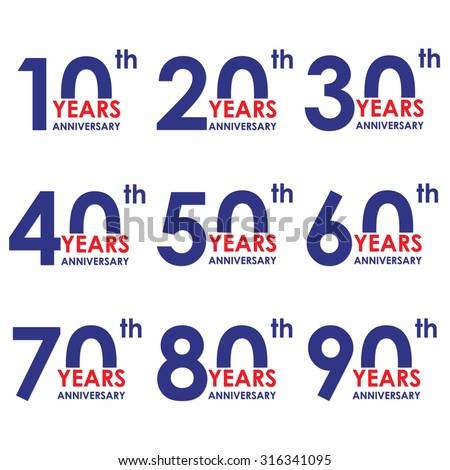 Anniversary icon set. Anniversary symbols isolated on white background. 10,20,30,40,50,60,70,80,90 years. Template for cards and congratulation design. Colorful vector illustration. - stock vector
