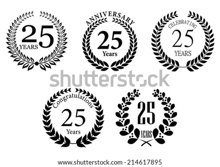 Anniversary jubilee  laurel wreaths set with text Congratulations,  25 years, Anniversary. For jubilee, Anniversary and celebration design - stock vector