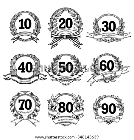 Anniversary labels set for different age black white sketch isolated vector illustration