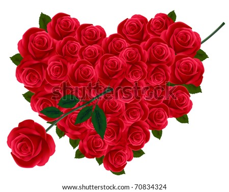 Anniversary or Valentine Heart Made Out of Roses with arrow. Vector illustration.