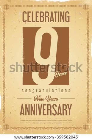 Anniversary retro background 9 years - stock vector