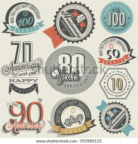 Anniversary sign collection and cards design in retro style. Template of anniversary, jubilee or birthday card with number editable. Vintage vector typography. - stock vector