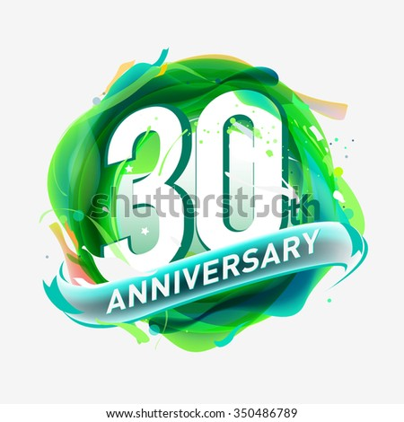 anniversary 30th - abstract green background with icons and elements - stock vector