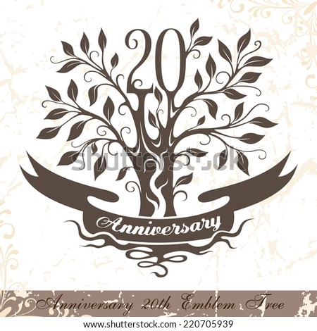 Anniversary 20th emblem tree in classic style. Template of anniversary, birthday and jubilee emblem  with copy space on the ribbon. - stock vector