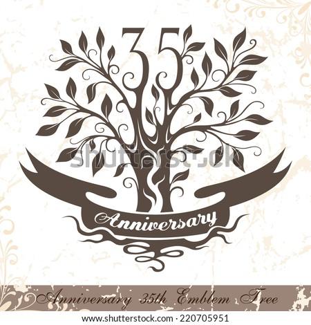 35th Wedding Anniversary Symbol 35th Birthday Celebration Stock