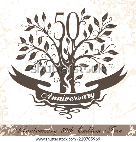 Anniversary 50th emblem tree in classic style. Template of anniversary, birthday and jubilee emblem  with copy space on the ribbon. - stock vector