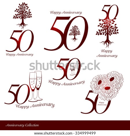 Anniversary 50th signs collection - stock vector