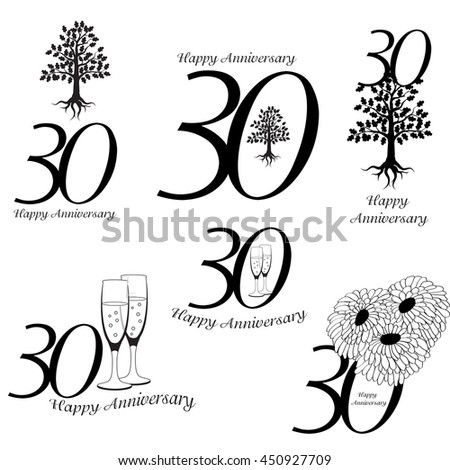 Anniversary 30th signs collection. Anniversary, birthday and jubilee emblem with oak, champagne an flowers - stock vector