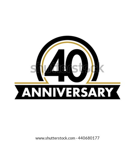 Anniversary Vector Unusual Label Fortieth Year Stock Vector Royalty