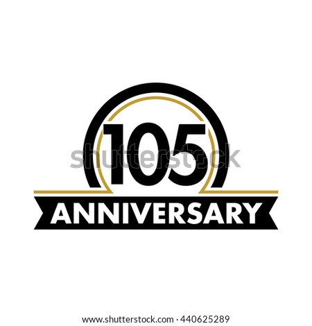 Anniversary vector unusual label. One hundred fifth year symbol. Birthday abstract logo. 105th jubilee