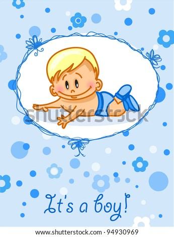 Announcement card with baby boy, vector background