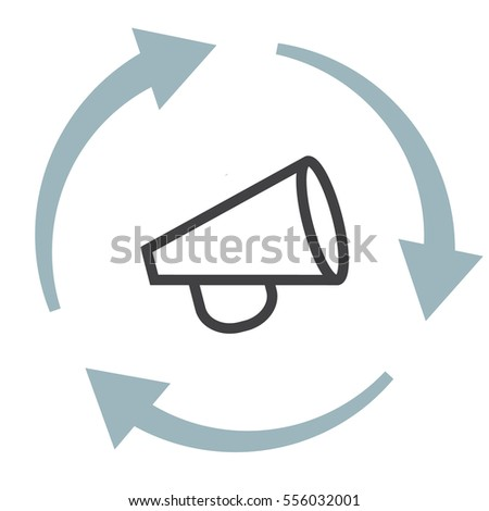 Announcement line vector icon. Loudspeaker sign. Bullhorn symbol.