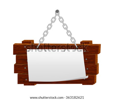Announcement on wooden board, 10eps. - stock vector