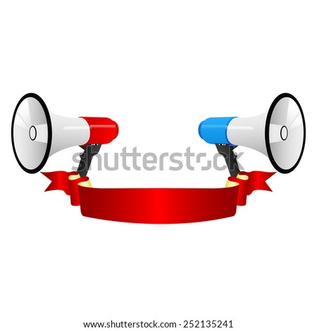 Announcement with a megaphones - stock vector