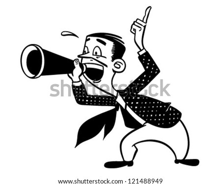 Announcer With Megaphone - Retro Clipart Illustration - stock vector
